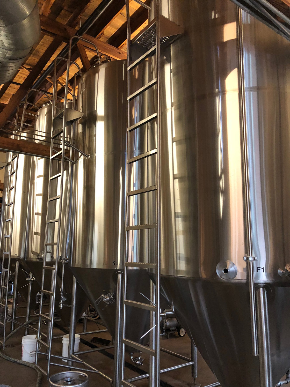 An image of the fermentation tanks at Brewery Vivant in Grand Rapids, MI.